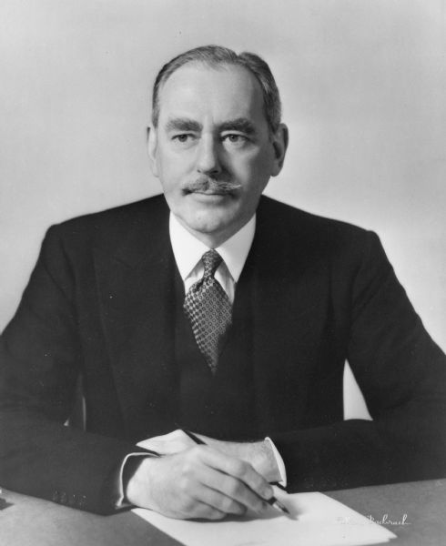 Dean Acheson, Secretary of State during the administration of Harry S. Truman, 1949-1952, who played a crucial role in defining U.S. foreign policy during the early years of the Cold War.  In this exquisite portrait, Acheson seems to epitomize the liberal establishment elite hated by Joseph R. McCarthy and other anti-Communists.  Acheson won their enmity for his support of Alger Hiss and other Communist spies alleged to be State Department employees.