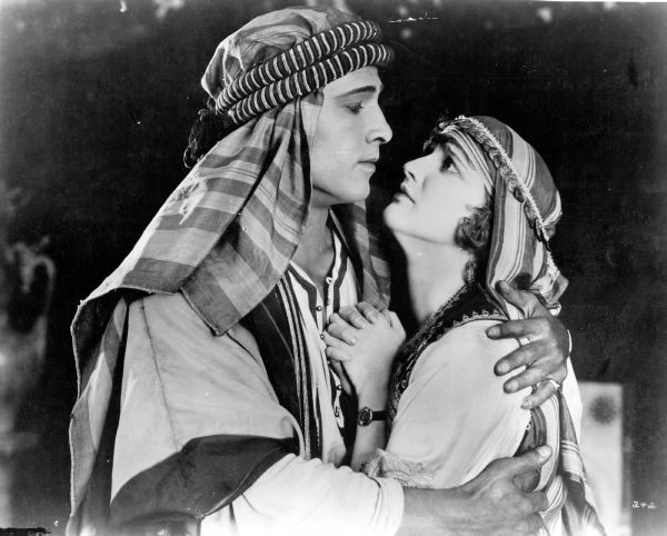 Publicity still of Rudolph Valentino and Agnes Ayres in <i>The Sheik</i>. (Paramount 1921).