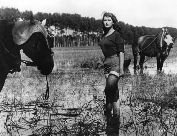 Scene still of Silvana Mangano, playing Silvana Melega, standing in a flooded rice paddy with two horses in Giuseppe De Santis's <i>Riso Amaro (Bitter Rice,</i> 1949).