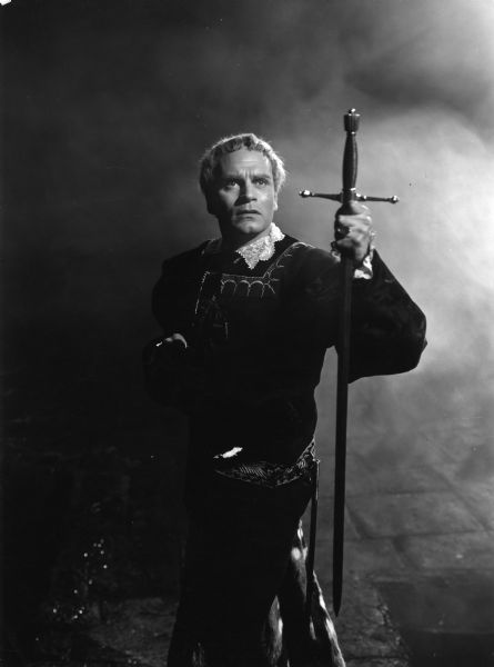 Publicity still of Laurence Olivier in <i>Hamlet</i> (1948) in which he was both the lead actor and director.