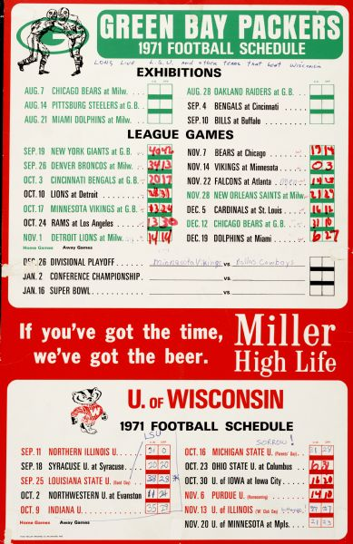 Sign board featuring the Green Bay Packers and University of Wisconsin-Madison Badgers 1971 Football schedules, produced by Miller Brewing Co., presumably for distribution in Wisconsin bar or drinking establishment. The scores of each of the games have been written in to blank spaces provided next to each match.