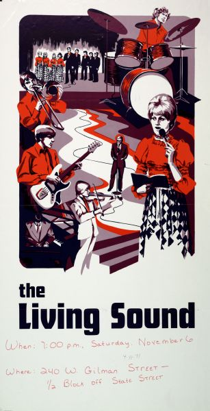 "Poster advertisement for a concert by the group ""The Living Sound,"" at 240 West Gilman Street, in Madison, Wisconsin. Features a reduced purple and red illustration of various musicians."