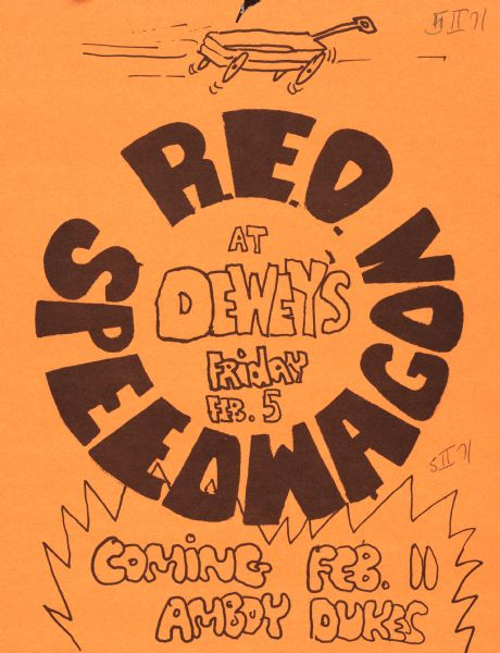 Poster advertising a performance by REO Speedwagon at Dewey's. Features a toy wagon at the top.