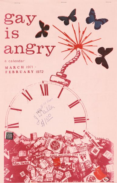 Cover illustration of a calendar promoting gay pride. The calendar features numerous photographs, illustrations and quotations for each month from March 1971-February 1972. The cover illustration features an analog clock as a bomb, butterflies, and a montage of various pop culture logos and traffic signs.