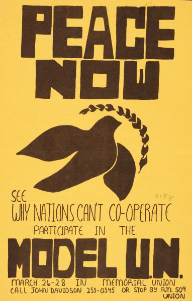 Poster advertising the Model United Nations at the University of Wisconsin-Madison. Features a dove with an olive branch as a symbol of peace.
