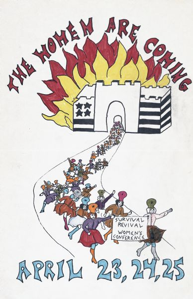 "Poster promoting the ""Survival Revival Women's Conference."" The poster features an American flag patterned castle in flames with a parade of women marching away from the castle holding a banner."