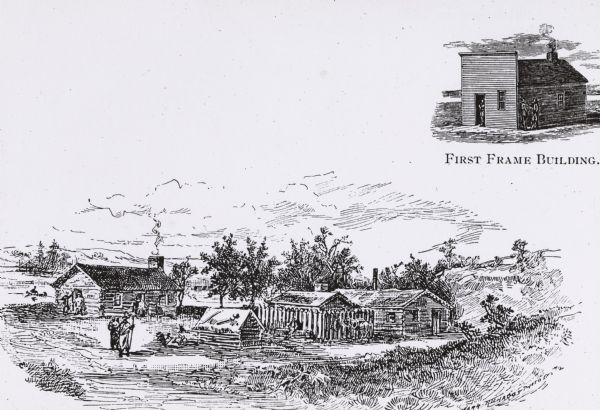 Illustration of the Solomon Juneau fur trading post at Milwaukee in 1833.