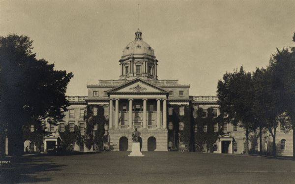 View up Bascom Hill showing Lincoln Monument in front of Bascom Hall with dome (formerly Main Hall).