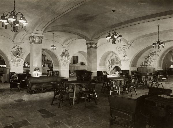 Interior view of the Memorial Union Rathskellar at the University of Wisconsin-Madison.