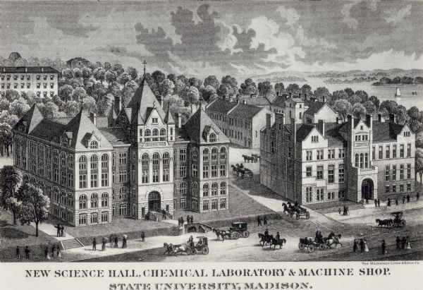 Engraving of an elevated view of Science Hall, Chemical Laboratory and Machine Shop on the University of Wisconsin-Madison campus.