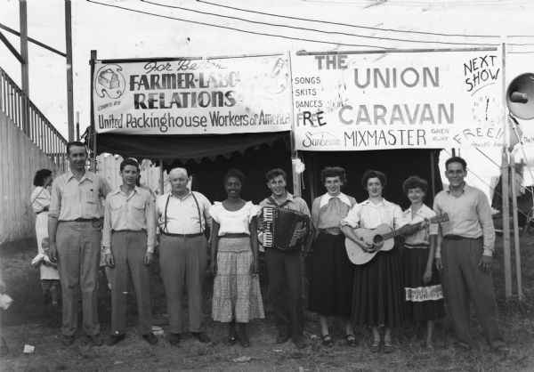 To foster better farmer-labor union relations, members of United Packinghouse Workers locals 8 and 169 organized a singing caravan that performed at fairs in Nebraska.