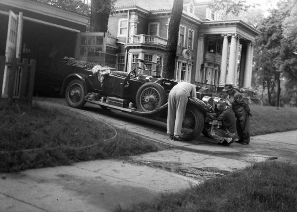 Men Working on Old Car | Photograph | Wisconsin Historical Society