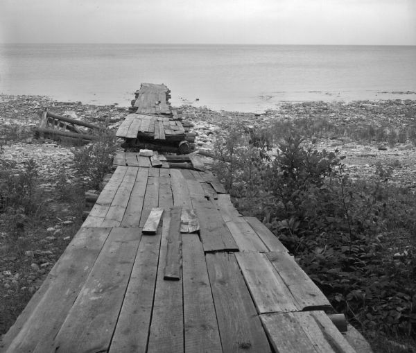 Dilapidated Boat Dock | Photograph | Wisconsin Historical