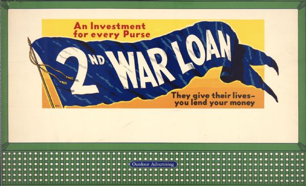 "Treasury Design, unknown title and number. The poster features a waving blue flag with the words ""2nd War Loan"" printed on it in white."