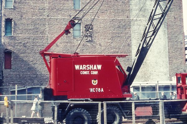 Warshaw Construction Corporation crane, during construction of the World Trade Center towers.
