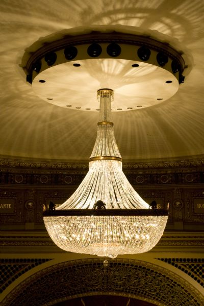 Close-up of replica chandelier in the Pabst theater.