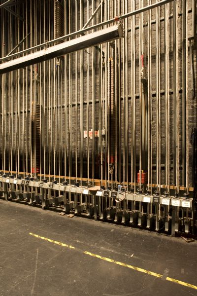 Close-up of Gus Knickelbein's single counterwieght fly system in Pabst Theater.