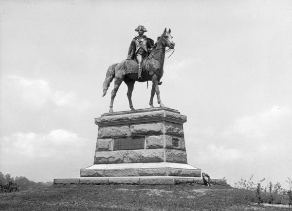 Statue of General Anthony Wayne an American Revolution General, astride a horse.  Dedicated on June 20, 1908 the Henry K. Bush-Brown bronze surmounts a gentle rise in a field.