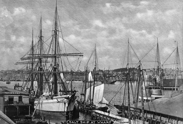 "View of schooner and other boats at the wharf. The town can be seen in the distance. Text on photograph reads: ""Salt Ship At Wharf."" and ""The Albertype Co. Brooklyn, N.Y."""