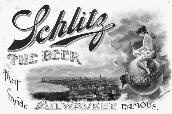 Cover art featuring Milwaukee from promotional booklet of views of the Schlitz Brewery.