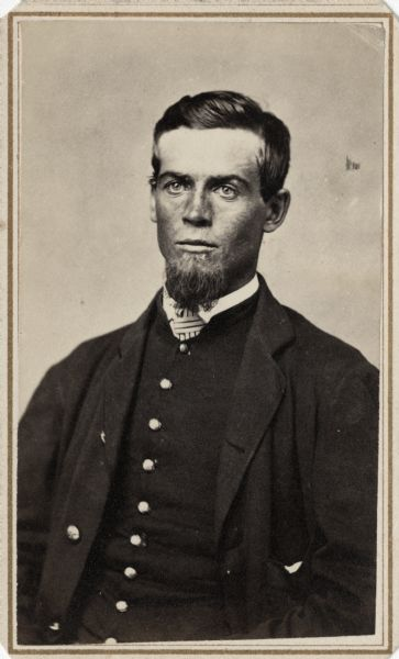 Waist-up carte-de-visite portrait of Lieutenant David C. Feeland, Company D, 4th Wisconsin Cavalry.