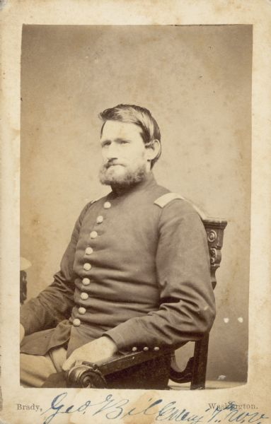 Seated carte-de-visite portrait of Major George Bill, 7th Wisconsin Infantry.