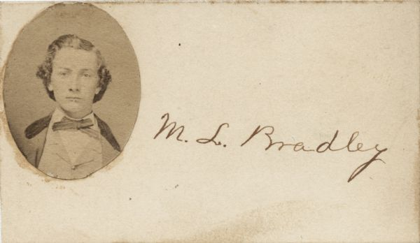 Photographic calling card of Moses L. Bradley, Company I, 23rd Wisconsin Infantry.