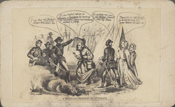 "Carte-de-visite cartoon drawing of Jefferson Davis, being captured by Union troops while wearing a dress and escorted by other women. Titled ""A So Called President"" in Petticoats."