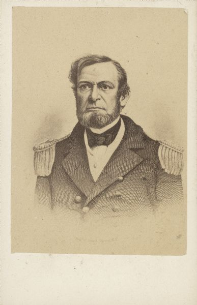 Engraved quarter-length carte-de-visite portrait of Commander Andrew Hull Foote in uniform with epaulettes. When the Civil War broke out, Foote was placed in command of naval operations on the western rivers (Upper Mississippi River). His flotilla of gun boats coordinated with General Grant's troops in capturing Fort Henry in early February 1862. A few days later after capturing Fort Henry, Foote and Grant also worked together in capturing Fort Donelson. During the naval bombardment of the fortifications, Foote was injured in the leg and foot. It is believed that these wounds caused his death, in part, on June 26, 1863.