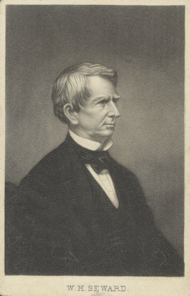 Engraved carte-de-visite profile portrait of William H. Seward, Secretary of State under the Lincoln Administration.