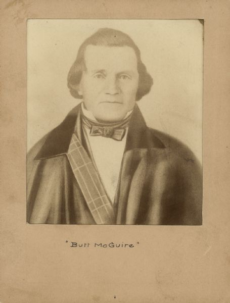Engraved portrait of Burr McGuire who was captured by Company A, 1st Wisconsin Cavalry, on the morning of August 18, 1862 near Jackson, Missouri.