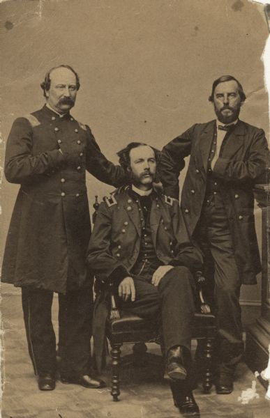 Civil War General John C. Starkweather, center; Lt. Colonel George B. Bingham, left; and General Rufus King, right; all of the Iron Brigade.