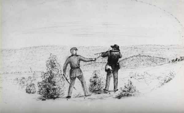 sketch of civil war soldier firing rifle photograph wisconsin