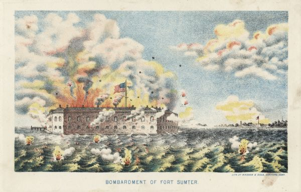 Color lithograph of the fort in the midst of the bombardment, published by Bingham & Dodd, Hartford, Connecticut.