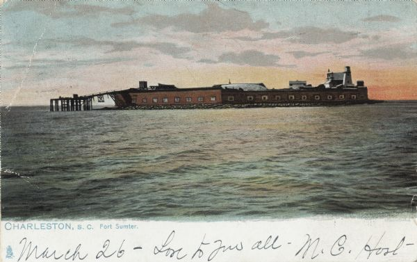 View across water of Fort Sumter.