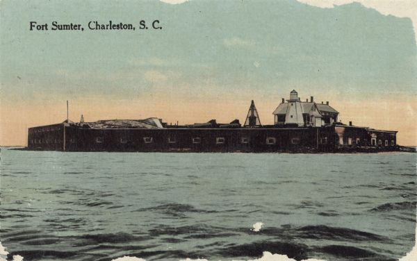 Color postcard of view across water of Fort Sumter.