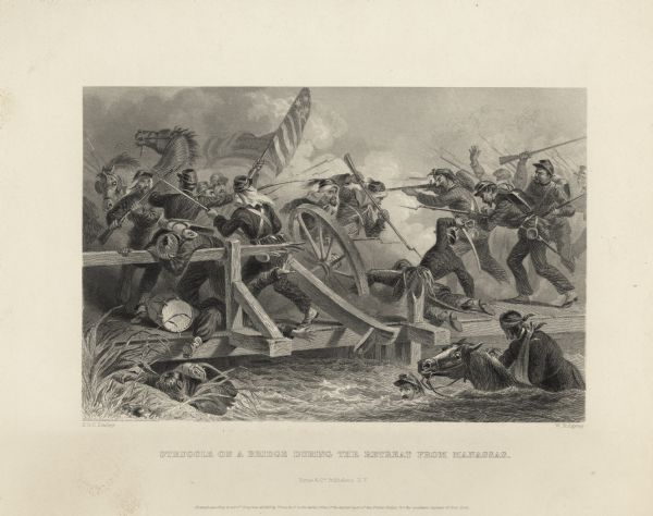 Etching of a battle scene during the retreat from Manassas. Originally published by Virtue & Company Publishers of New York.