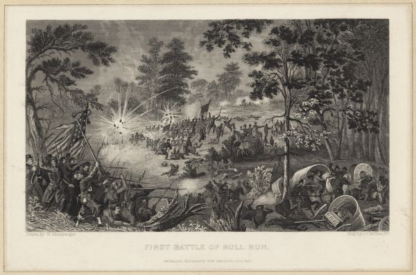 Depiction of the battlefield. Engraved by J.C. McRae and drawn by W. Momberger.
