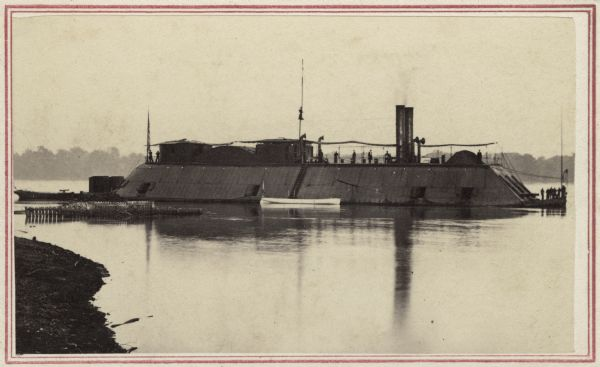 A Union ironclad steamship on the Mississippi River.