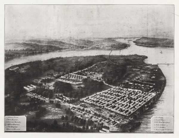 Aerial view, probably from a lithograph, of the prison for Confederate soldiers at Rock Island.