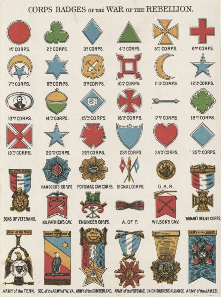Corps Badges of the War of the Rebellion | Print | Wisconsin Historical  Society