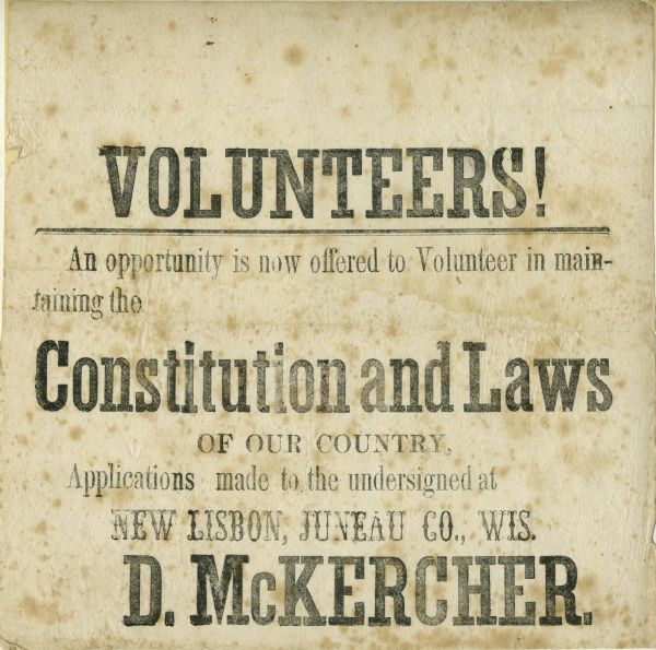 Civil War recruitment poster for the Union Volunteers.