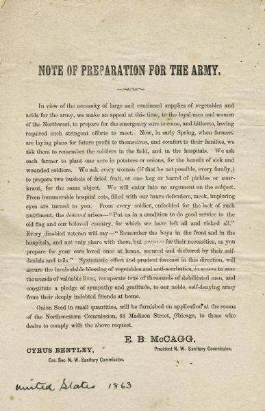 Handbill issued by E.B. McCagg, President of the N.W. Sanitary Commission, urging citizens to plant potatoes and onions to be divided, and to put up dried fruit, pickles, and sauerkraut to be used by soldiers.