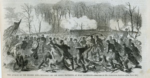 "Engraved Illustration for the story titled: ""The Fight at Fort Donelson"". The illustration shows the Second Iowa Volunteers regiment attacking Confederate batteries at Fort Donelson."