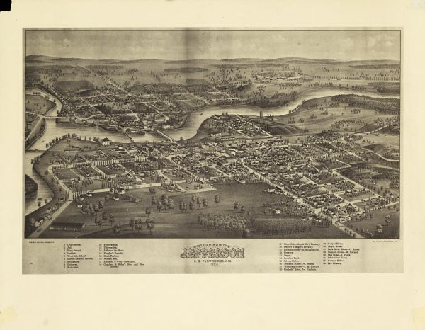 Bird's-eye view of Jefferson on the Rock River.