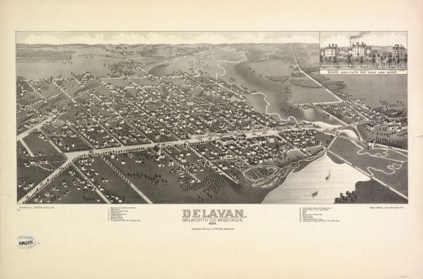Bird's-eye map of Delavan with inset of the State Institute for Deaf and Dumb.