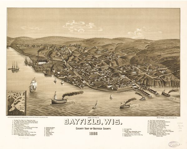 Bird's-eye view of Bayfield, county seat of Bayfield County. On the lower left side is an inset for Bayfield and the Apostle Islands.
