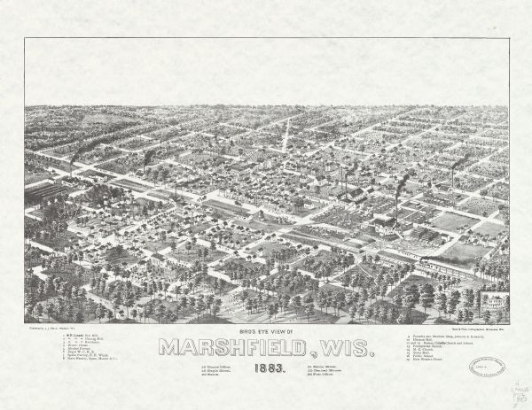 Bird's-eye map of Marshfield, with one vignette.