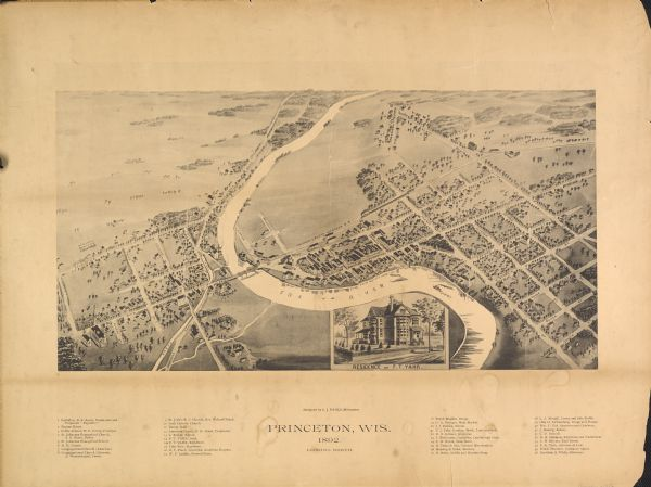 Bird's-eye map of Princeton, with an inset of the Residence of F.T. Yahr. Fox River loops to left of center, with one bridge; thirty-six businesses, residences and civic buildings are identified in the location key.