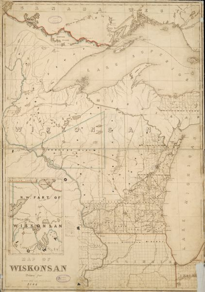 "Map of Wisconsin including Lakes Michigan and Superior. Inset includes ""N.W. Part of Wiskonsan."""